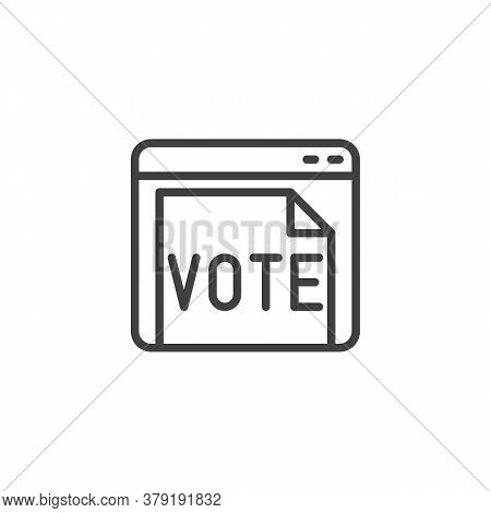 Online Voting Line Icon. Linear Style Sign For Mobile Concept And Web Design. Website With Vote Docu