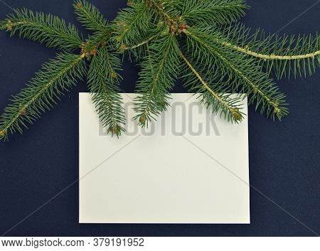 Empty Paper Sheet With Natural Conifer Branch On Blue Table.  Christmas And New Year Background For