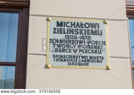 Jaroslaw, Poland - June 12, 2020: Plaque Commemorating Michal Zielinski, A Soldier And A Poet.