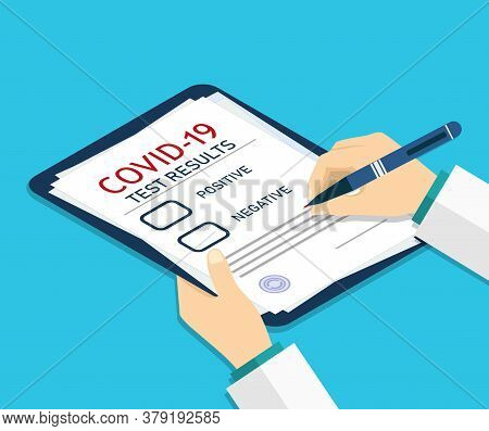 Isometric Medical Report. Form For Covid-19. Checkup Or Test Of Patient Health. Doctor Record About