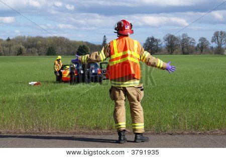 Firemen At Wreck.