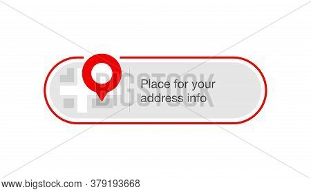 Address Block Template For Website Or Banner - Creative Decorated Frame With Geo Location Pin (gps M