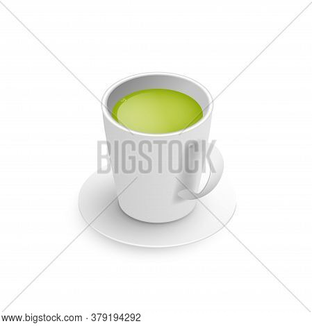Realistic 3d Cup Of Hot Aromatic Green Japanese Tea Matcha. A Teacup Isometric View Isolated On Whit