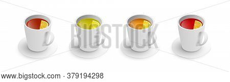 Realistic 3d Cup Of Hot Aromatic Tea Set. A Teacup With Green, Black, Herbal Rooibos Red Tea With Le