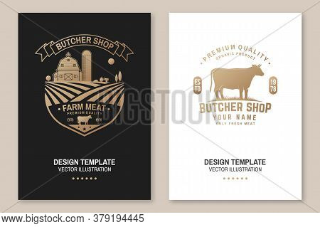 Butcher Shop Badge Or Label With Cow, Beef, Farm. Vector. Vintage Typography Logo Design With Cow, F