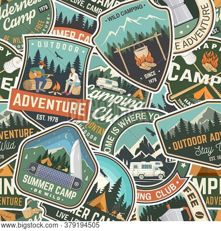 Summer Camp Colorful Seamless Pattern With Rv Trailer, Camping Tent, Campfire, Bear, Man With Guitar