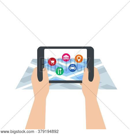 Augmented Reality - Vector Concept With Tablet Screen Holding In Hands, Isometric Map And 3d-visuali