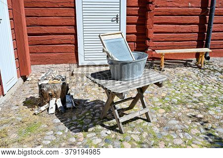 Washboard And Washtub In A Outdoor Called Wadkoping Orebro Sweden