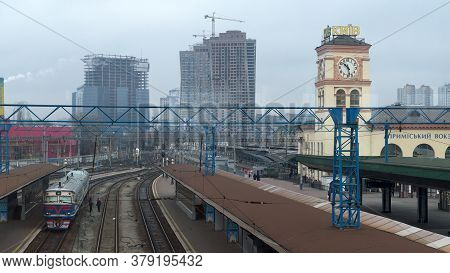 Kyiv, Ukraine, February 25, 2020. Train Near The Platform Of The Kiev Suburban Railway Station. Kiev