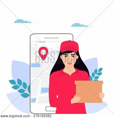 A Girl Courier In Red Uniform Delivers A Parcel. Online Order Food