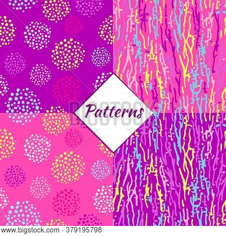 Simless Pattern Made From Random Lines, Blots, And Brush Strokes. Random Chaotic Lines And Spots. Ve