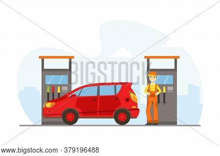 Gas Station Worker Standing Next To Fuel Dispenser Filling Up Fuel Into Red Car Cartoon Vector Illus