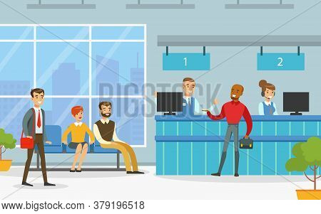 Bank Office Interior With Managers Providing Services To Customers, Financial Bank Service Vector Il