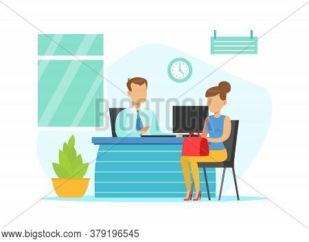Bank Manager Consulting Female Client, Bank Interior With Counter Desk And Financial Consultant, Ban