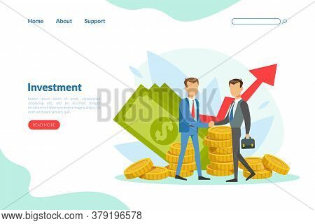 Business Investment Landing Page Template, Financial Consultation Service, Business Analysis And Man