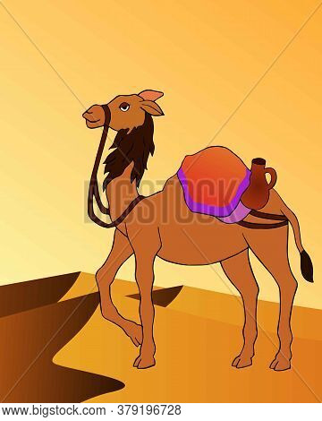 Graphical Presentation Of Beautiful Decorated Camel With Seat For A Ride Standing In A Desert. Vecto