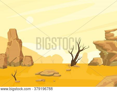 Sandy Desert Landscape With Mountains And Lonely Dead Tree, Drought, Global Warming Conept Cartoon V