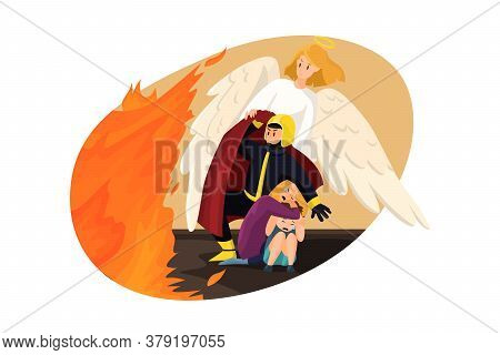 Christianity, Religion, Protection, Care Concept. Angel Biblical Religious Character Helping Man Fir