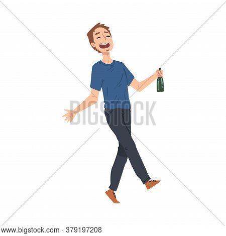 Drunk Young Man With Alcohol Drink Bottle In His Hands, Happy Drunken Man Walking Tipsy Screwed, Dru