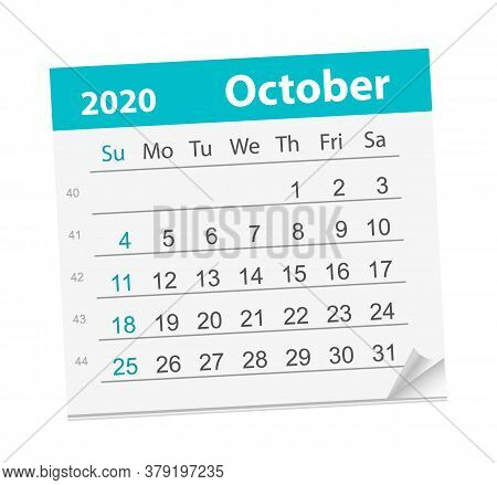 Calendar Sheet For The Month Of October 2020.