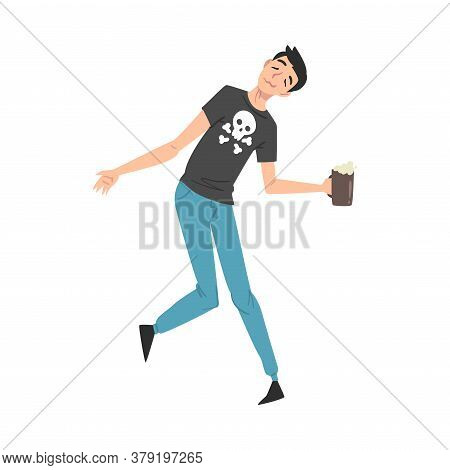 Boozy Drunk Man Walking Tipsy Screwed With Beer Mug In His Hands, Drunkenness, Bad Habit Concept Car