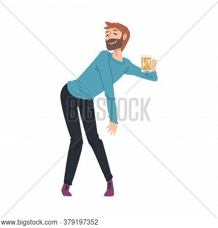 Drunk Young Man With Mug Of Beer In His Hands, Boozy Drunk Man Walking Tipsy Screwed, Drunkenness, B
