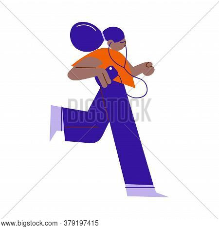Young Black Girl Teen Jogging And Listening To Music In Headphones