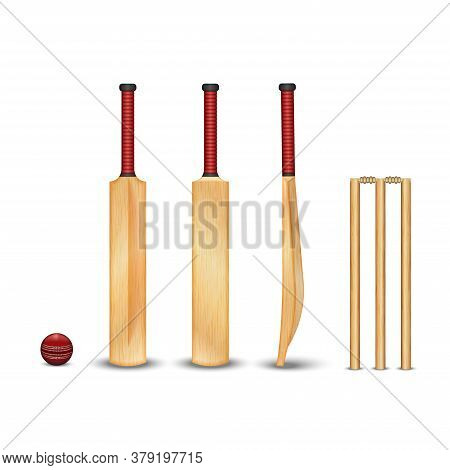 The Wooden Bat, Wicket, The Ball For The Game Of Cricket, Realistic 3d Vector Models With Wooden Tex