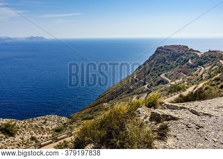 Tourist Destinations In Spain. Fortification Area Battery De Castillitos Near Cartagena, Cabo Tinoso