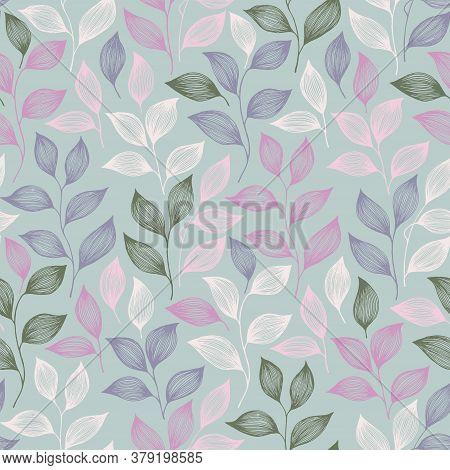 Packaging Tea Leaves Pattern Seamless Vector. Minimal Tea Plant Bush Leaves Floral Fabric Print. Her