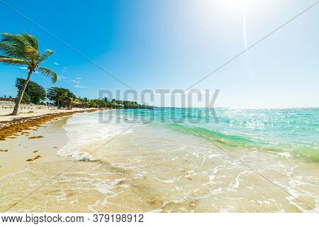 Sun Shining Over Raisins Clairs Beach In Guadeloupe, French West Indies. Lesser Antilles, Caribbean