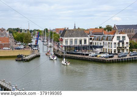 Harlingen, The Netherlands, July 23 2020: Aerial View Of Harlingen, Friesland. Marina With Sailing S