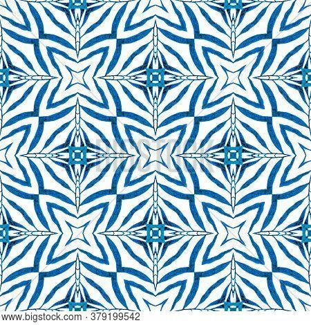 Chevron Watercolor Pattern. Blue Magnetic Boho Chic Summer Design. Textile Ready Decent Print, Swimw