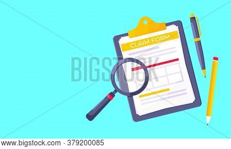Clipboard With Claim Form On It, Paper Sheets, Magnifying Glass Isolated On Light Blue Background Fl