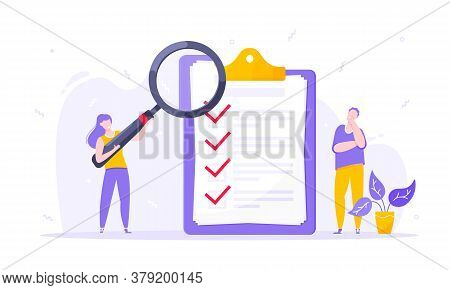 Task Done Business Concept Tiny Person With Magnifying Glass Nearby Giant Clipboard. Complete Checkl