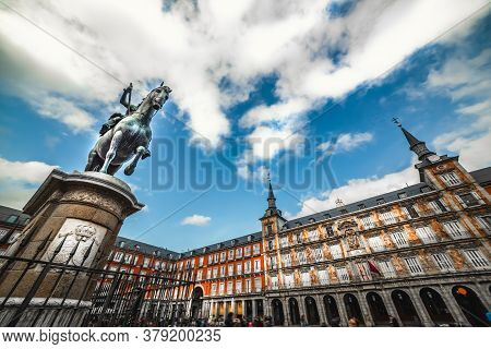 Clouds Over Famousn Plaza Mayor In Downtown Madrid, Spain