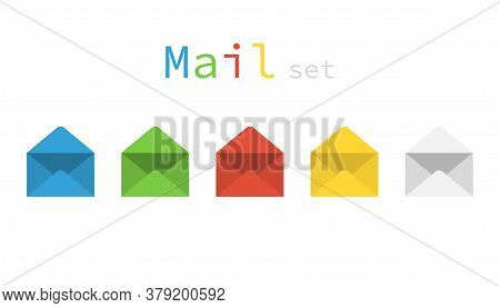 Set Of Colored Mail Envelope. Template Of Letter Icons. Email Sign In Green, Blue, Red And Yellow Co