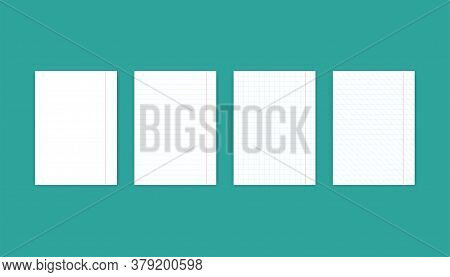 Set Of Paper Sheet. Blank Notebook With Lines And Grid. Diagonal Lines And Straight In Flat Design O