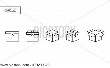 Container Box In Outline. Isolated Delivery Package Set. Cardboard In Black Simple Design. Open And