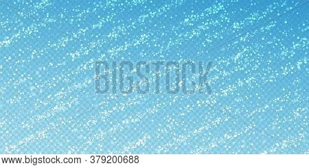 Magic Stars Sparse Christmas Background. Subtle Flying Snow Flakes And Stars On Transparent Blue Bac
