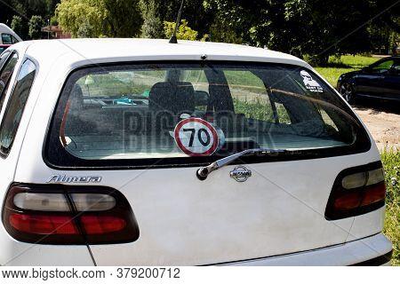 Belarus, Novopolotsk - August 02, 2020: Speed Limit Sticker On Nissan