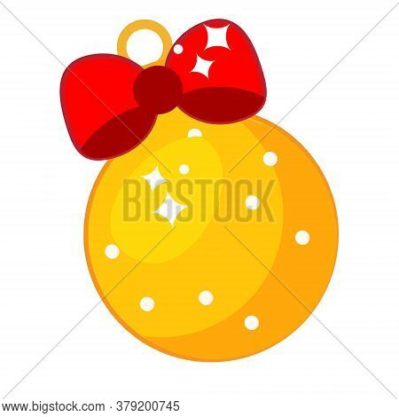 New Year Christmas Bauble Decorated With Bow. Isolated Vector Clip Art, Icon
