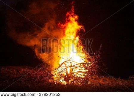 Big Beautiful Bonfire In The Night Forest In The Holiday Bath. Tourism And Recreation In The Forest