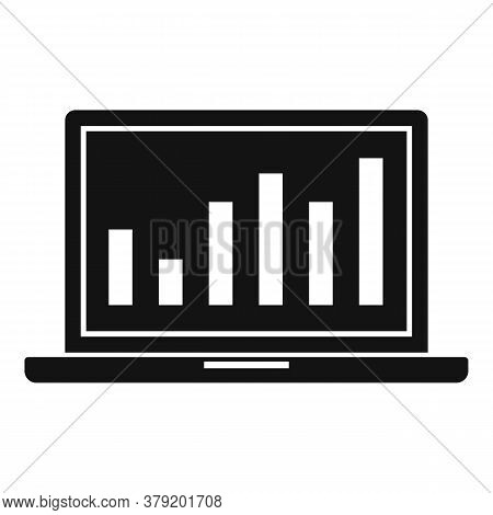 Laptop Conversion Rate Graph Icon. Simple Illustration Of Laptop Conversion Rate Graph Vector Icon F