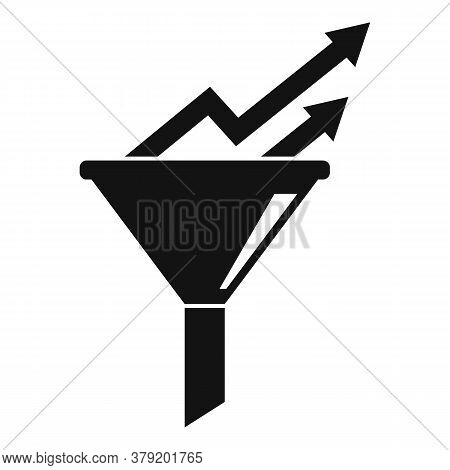 Conversion Rate Graph Funnel Icon. Simple Illustration Of Conversion Rate Graph Funnel Vector Icon F