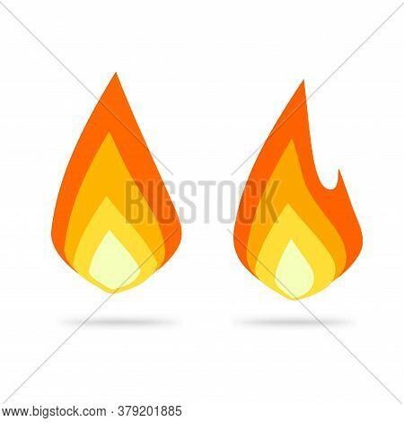 Fire Flame Logo Icon Vector Flat Cartoon, Ignite Blaze Symbol, Idea Of Hot Drop Label Or Campfire Fi