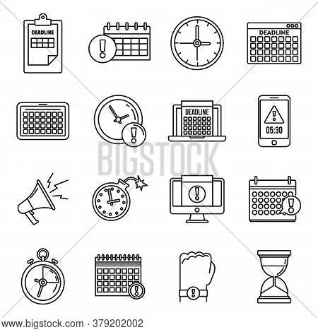 Work Deadline Icons Set. Outline Set Of Work Deadline Vector Icons For Web Design Isolated On White