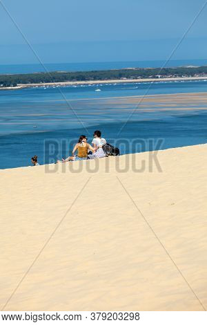 Dune Of Pilat, France - September 10,2018: People On The Dune Of Pilat, The Tallest Sand Dune In Eur