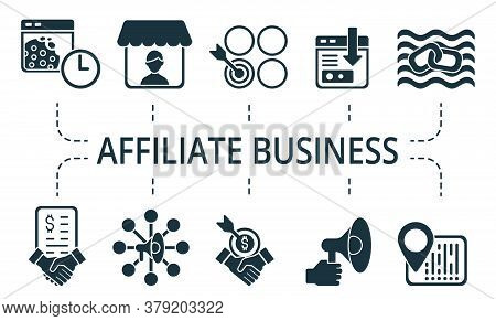Affiliate Business Icon Set. Collection Contain Affiliate, Code, Advertiser, Viral, Marketing, Affil