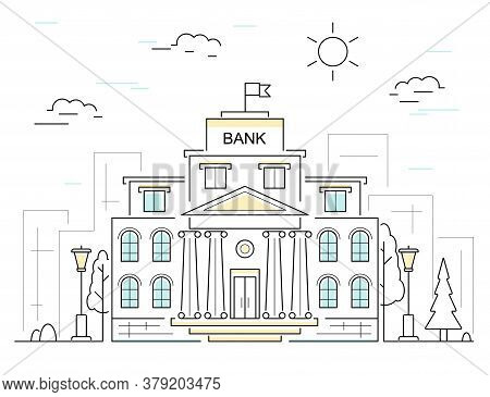 Bank Building With Column Classic Exterior Concept Contour Linear Style. Vector Illustration Of Bank